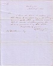 DOUGLAS, STEPHEN A. Brief Autograph Letter Signed,