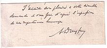 DREYFUS, ALFRED. Clipped portion of an Autograph Letter Signed,