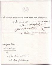 EDWARD VII; KING OF ENGLAND. Letter Signed,