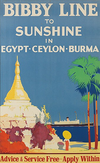 JAMES SCRIMGEOUR MANN (1883-1946). BIBBY LINE TO SUNSHINE IN EGYPT • CEYLON • BURMA. 38x23 inches, 98x59 cm.