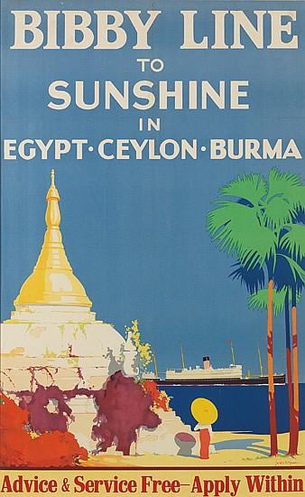 JAMES SCRIMGEOUR MANN (1883-1946). BIBBY LINE TO SUNSHINE IN EGYPT • CEYLON • BURMA. 38x23 inches, 98x59 cm.