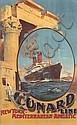 ODIN ROSENVINGE (1880-1957). CUNARD LINE / NEW YORK • MEDITERRANEAN • ADRIATIC. 39x24 inches, 101x56 cm. Turner & Dunnett, Liverpool.
