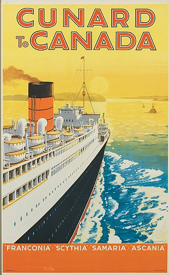 CHARLES E. TURNER (1883-1965). CUNARD TO CANADA. 39x24 inches, 101x62 cm.