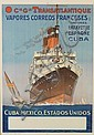 ALBERT SEBILLE (1874-1953). CIE GLE TRANSATLANTIQUE / VAPORES CORREOS FRANCESES. 41x28 inches, 104x73 cm. Crete, Paris.