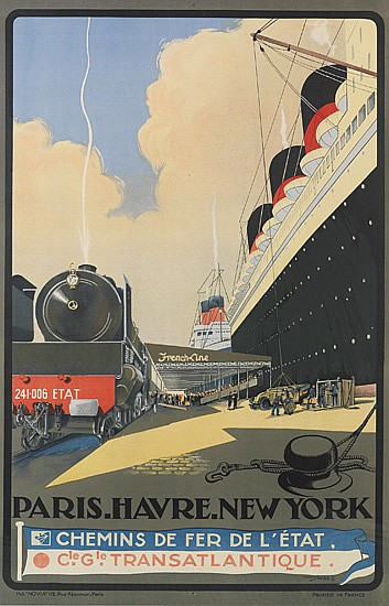 ALBERT SEBILLE (1874-1953). FRENCH LINE / PARIS - HAVRE - NEW YORK [ILE DE FRANCE.] Circa 1930. 38x25 inches, 98x63 cm.