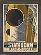 A.M. CASSANDRE (ADOLPHE MOURON, 1901-1968). NEW STATENDAM / HOLLAND-AMERICA LINE. 1928. 40x31 inches, 103x78 cm. Nijgh & Van Dittmar, R, Adolphe Mouron Cassandre, Click for value
