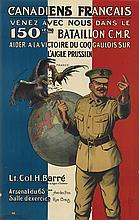A.G.R. (DATES UNKNOWN). CANADIENS FRANCAIS / VENEZ AVEC NOUS DANS LE 150IÈME BATAILLON C.M.R. 1915. 41x27 inches, 104x69 cm. Consolidat