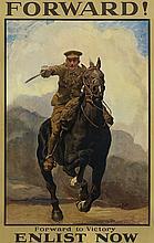 LUCY KEMP WALSH (1869-1958). FORWARD! / ENLIST NOW. 1915. 29x19 inches, 75x48 cm. David Allen & Sons Ltd., Harrow.