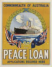 DESIGNER UNKNOWN. THE PEACE LOAN. Circa 1918. 25x20 inches, 65x50 cm. E.B. Studios, Sydney.