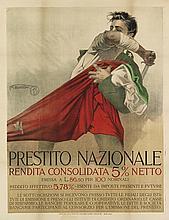 MARIO BORGONI (1869-1936). PRESTITO NAZIONALE. Circa 1916. 51x39 inches, 129x99 cm. Officine dell' Istituto Italiano d'Arti Grafiche, B