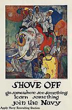 JAMES H. DAUGHERTY (1889-1974). SHOVE OFF / JOIN THE NAVY. Circa 1918. 41x27 inches, 104x69 cm. Navy Recruiting Bureau, New York.