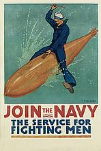 RICHARD FAYERWEATHER BABCOCK (1887-1954). JOIN THE NAVY. 1917. 41x28 inches, 105x71 cm.