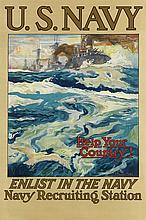 HENRY REUTERDAHL (1871-1925). U.S. NAVY / HELP YOUR COUNTRY! Circa 1917. 38x25 inches, 98x65 cm.