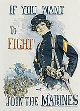 HOWARD CHANDLER CHRISTY (1873-1952). IF YOU WANT TO FIGHT! / JOIN THE MARINES. 1915. 37x27 inches, 94x68 cm.