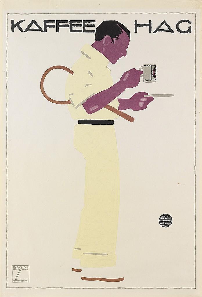 LUDWIG HOHLWEIN (1874-1949). KAFFEE HAG. 1913. 34x23 inches, 88x60 cm. Oscar Consee, Munich.