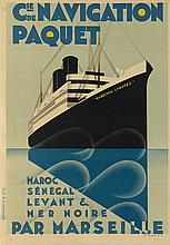 MAX PONTY (1904-1972). CIE DE NAVIGATION PAQUET. 1924. 41x28 inches, 104x72 cm. Hachard & Cie., Paris.
