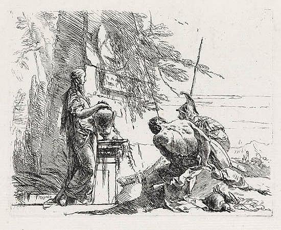 GIOVANNI B. TIEPOLO Donna che posa le Mani su un Vaso, Soldato e Schiavo.