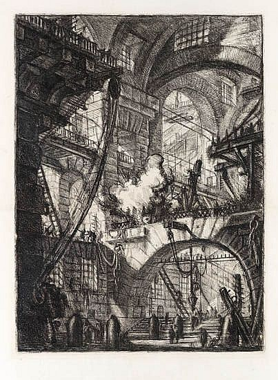 GIOVANNI B. PIRANESI Perspective of Arches, with a Smoking Fire.