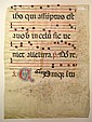 MANUSCRIPT LEAF  ASCENSION.  Vellum leaf from a Latin gradual with illuminated initial V.  Florence, 15th century