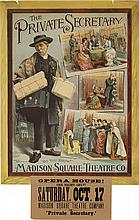 DESIGNER UNKNOWN. THE PRIVATE SECRETARY / MADISON SQUARE THEATER CO. 1884. 39x24 inches, 101x61 cm. The Strobridge Lith Co., Cincinnati