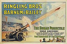 DESIGNER UNKNOWN. RINGLING BROS AND BARNUM & BAILEY / THE HUMAN PROJECTILE. Circa 1930. 28x42 inches, 71x106 cm. Illinois Litho Co, Chi