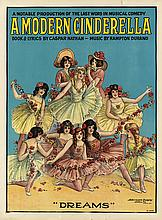 DESIGNER UNKNOWN. A MODERN CINDERELLA. Two posters. Circa 1901. Each 28x21 inches, 71x53 cm. Ackermann-Quigley Litho. Co., Kansas City.