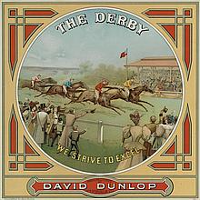 DESIGNER UNKNOWN. THE DERBY / WE STRIVE TO EXCEL. Tobacco Label. Circa 1880s. 10x10 inches, 27x27 cm.