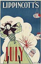 WILL CARQUEVILLE (1871-1946). LIPPINCOTT'S JULY. 1895. 19x12 inches, 48x31 cm.