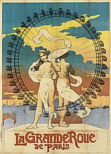 DESIGNER UNKNOWN. LA GRAND ROUE DE PARIS. 1899. 50x36 inches, 129x93 cm. J. Barreau, Paris.