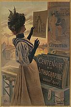 F. HUGO D'ALESI (1849-1906). EXPOSITION DU CENTENAIRE DE LA LITHOGRAPHIE. 1895. 61x44 inches, 155x111 cm. Courmont Freres, Paris.