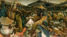 JOHN BIGGERS (1924 - 2001) Kumasi Market.