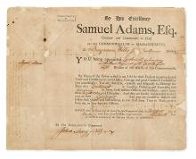 ADAMS, SAMUEL. Partly-printed Document Signed, as Governor of Massachusetts, appointing Benjamin Willis, Jr.,