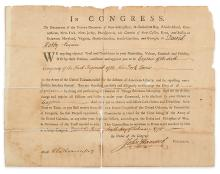 (AMERICAN REVOLUTION.) HANCOCK, JOHN. Partly-printed Document Signed, as President of the Continental Congress,