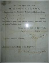 (AMERICAN REVOLUTION.) KNOX, HENRY. Partly-printed Document Signed,