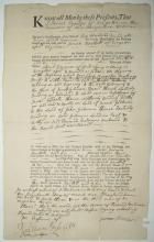 BARTLETT, JOSIAH. Partly-printed Document Signed, five times in third person within the text, land deed transferring six