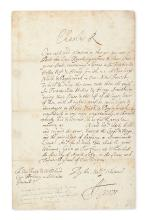 "CHARLES II; KING OF ENGLAND. Letter Signed, ""Charles R,"" to the Attorney General or Solicitor General, ordering that a bill be prepared"
