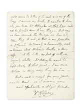 "NELSON, WILLIAM. Autograph Letter Signed, ""WmNelson,"" to Lady Hamilton,"