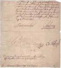 VANE, HENRY. Fragment of a Document Signed,