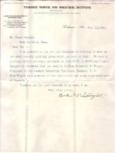 WASHINGTON, BOOKER T. Typed Letter Signed, to Frank Sargent,