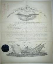 CLEVELAND, GROVER. Partly-printed vellum Document Signed, as President, military commission appointing Robert N. Scott