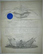 HAYES, RUTHERFORD B. Partly-printed vellum Document Signed,