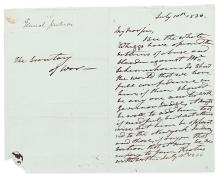 JACKSON, ANDREW. Autograph Letter, unsigned, as President, to Secretary of War Lewis Cass,