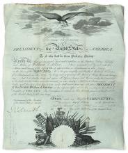 JEFFERSON, THOMAS. Partly-printed vellum Document Signed,