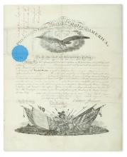 JOHNSON, ANDREW. Partly-printed vellum Document Signed, as President, military commission appointing Robert N. Scott
