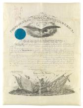 LINCOLN, ABRAHAM. Partly-printed vellum Document Signed, as President, military commission appointing Robert N. Scott