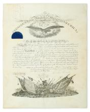 LINCOLN, ABRAHAM. Partly-printed vellum Document Signed, as President, military commission appointing George Drake