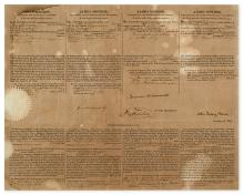 MONROE, JAMES. Partly-printed Document Signed, as President,
