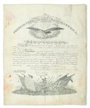 PIERCE, FRANKLIN. Partly-printed vellum Document Signed, as President, military commission appointing Robert N. Scott