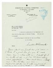ROOSEVELT, FRANKLIN D. Typed Letter Signed, as Governor-Elect, with 8-line Autograph Postscript Signed,