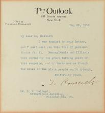 ROOSEVELT, THEODORE. Typed Letter Signed,